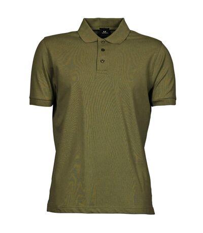 Tee Jays Mens Luxury Stretch Short Sleeve Polo Shirt (Olive Green) - UTBC3305