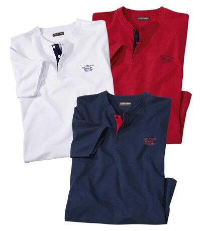 Pack of 3 Men's T-Shirts - Red White Blue