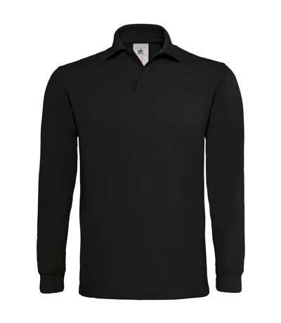 B&C Mens Heavymill Cotton Long Sleeve Polo Shirt (Heather Grey) - UTRW3007