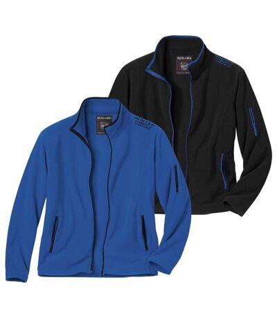 Pack of 2 Men's Outdoor Microfleece Jackets - Blue Black