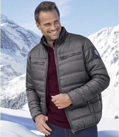 Men's Lightweight Grey Puffer Jacket - Water Repellent