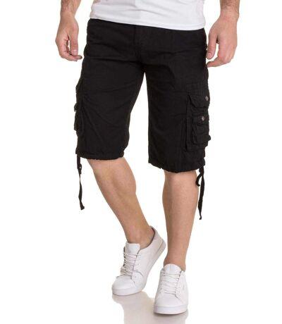 Bermuda short Noir multi poches avec ceinture pour homme