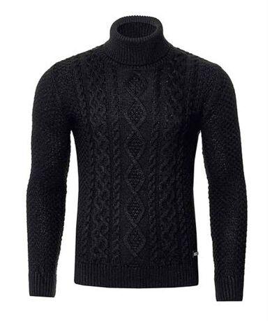 Pull col roulé noir tricot pour homme