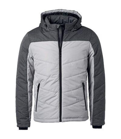 Veste matelassée à capuche - doudoune - JN1134 - gris argent - homme