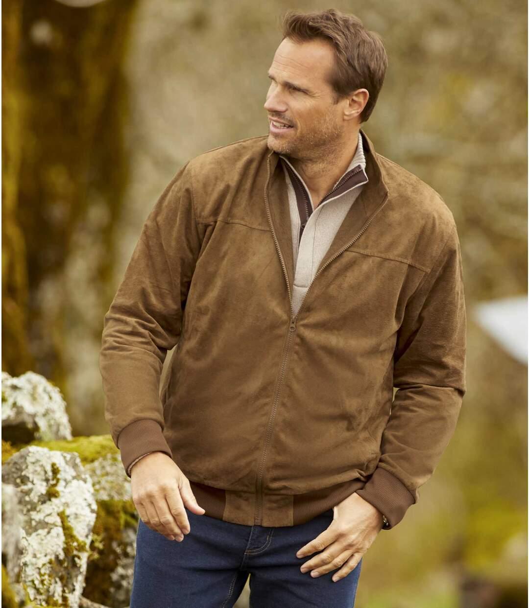 Men's Fleece-Lined Faux Suede Jacket - Full Zip