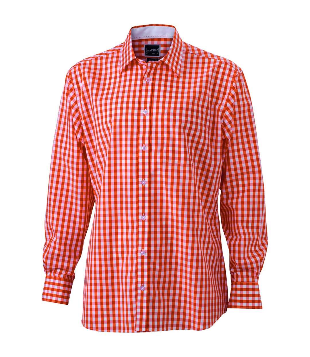 chemise manches longues carreaux vichy HOMME JN617 - orange