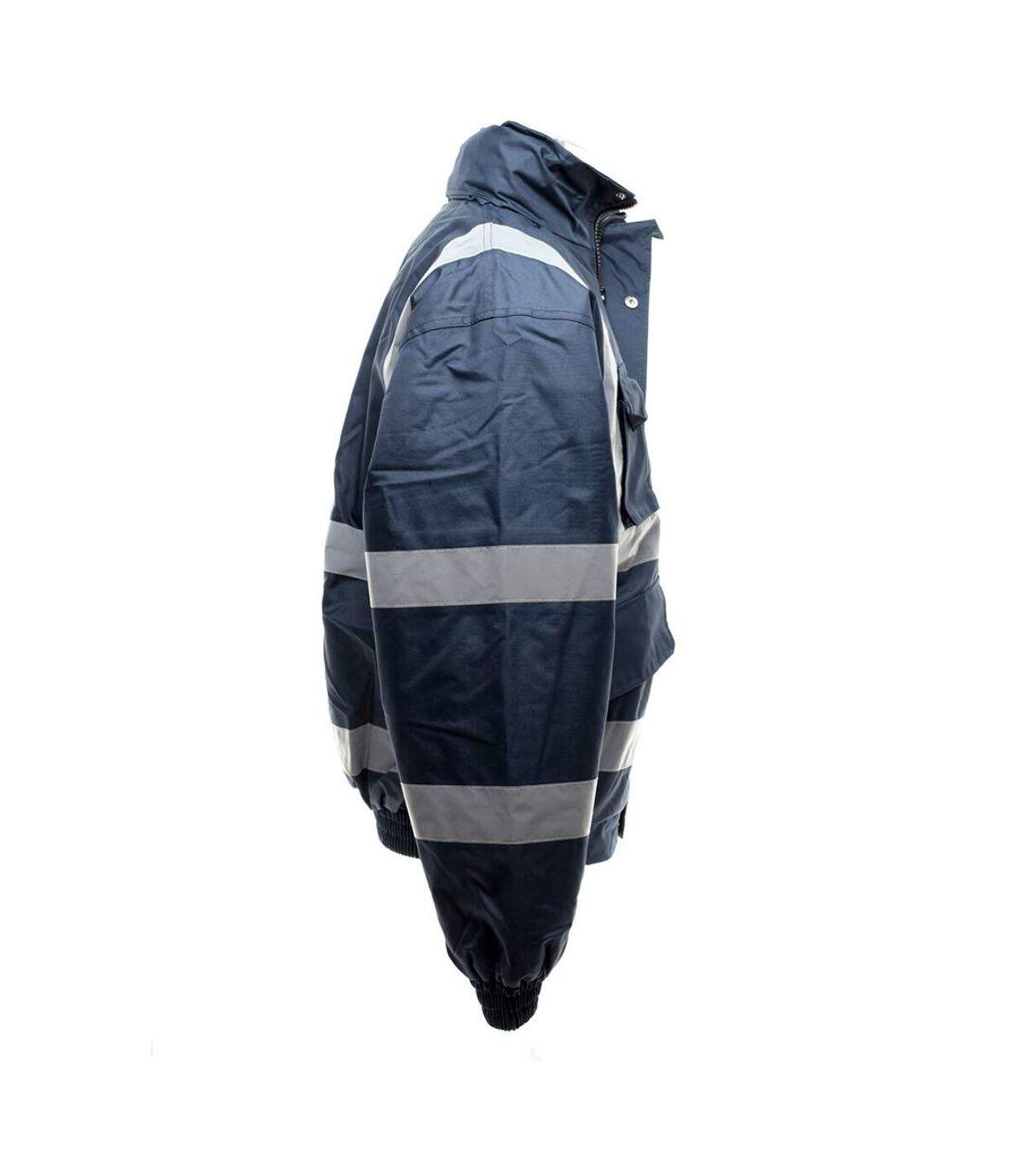Yoko Mens Hi-Vis Bomber Jacket (Navy Blue) - UTBC1248