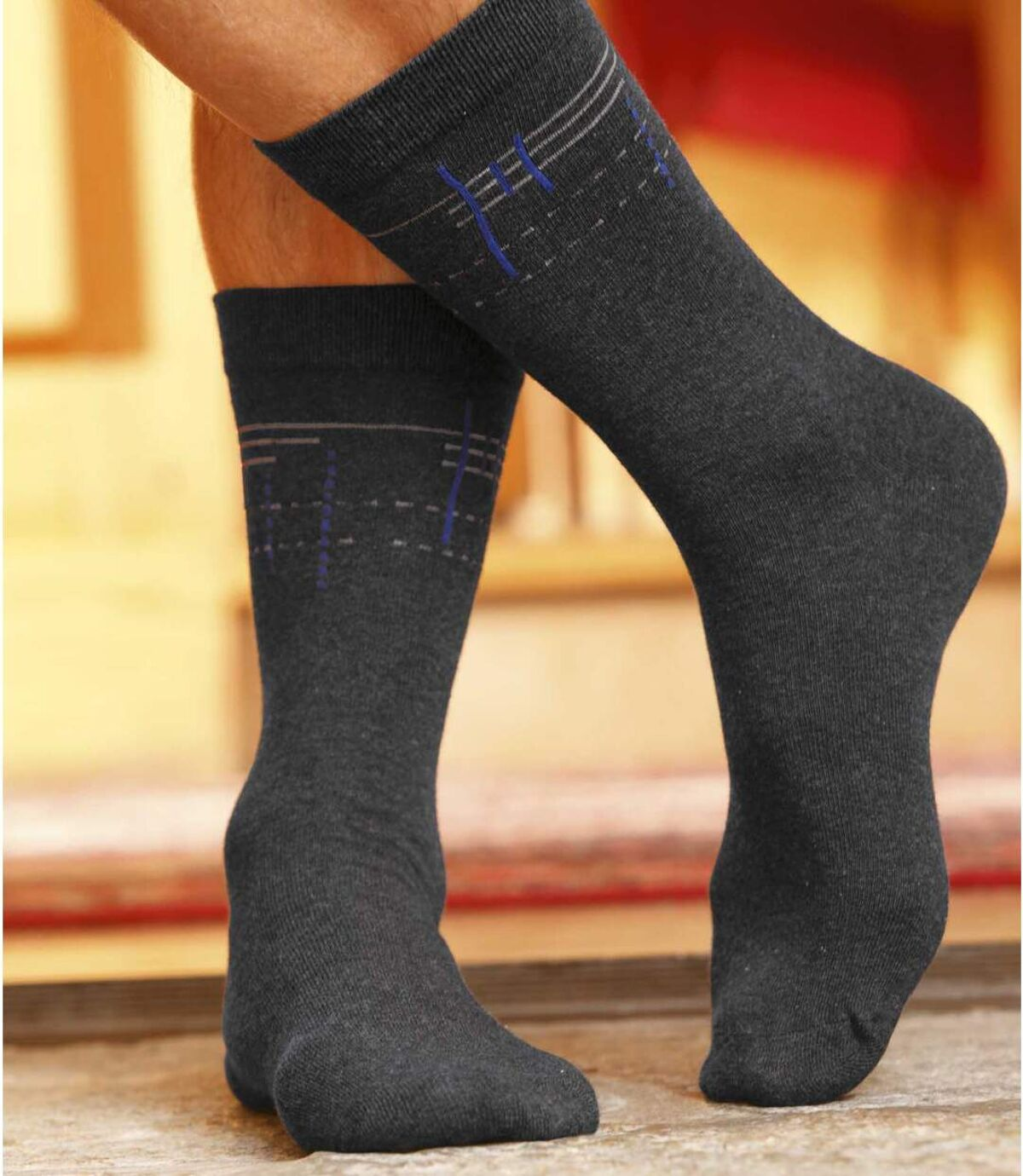 Pack of 4 Pairs of Men's Patterned Socks Atlas For Men