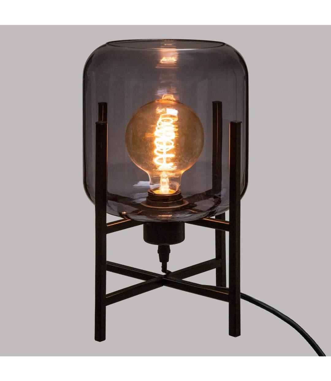 Atmosphera - Lampe en Verre Fumé et métal Noir H 34 cm