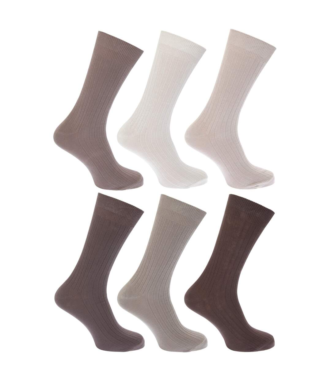 FLOSO Mens Ribbed 100% Cotton Socks (Pack Of 6) (Shades of Brown) - UTMB185