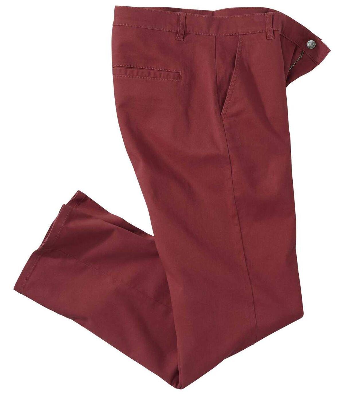 Strečové cihlově červené chino kalhoty  Atlas For Men