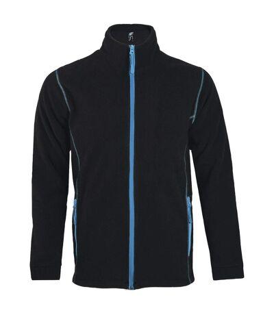 Veste micropolaire zippée homme - 00586 - noir et bleu aqua