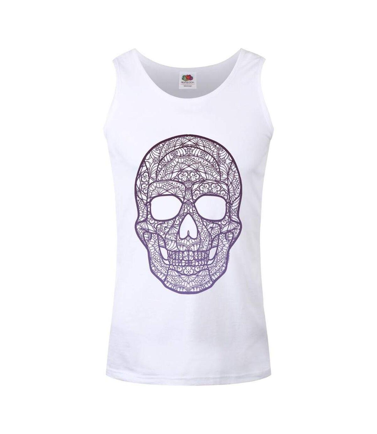 Grindstore Mens Pictoric Skull Vest Top (White) - UTGR2875