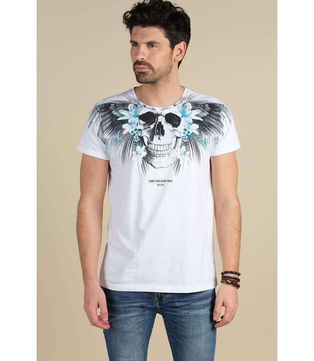 T-shirt imprimé tête de mort BEBACK White