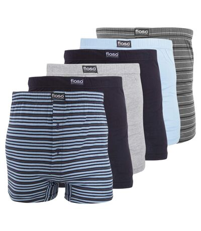 FLOSO Mens Cotton Mix Boxer Shorts (Pack Of 6) (Navy/Blue/Grey) - UTMU169