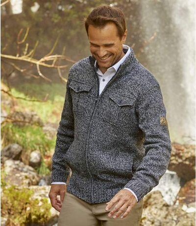 Men's Grey Warm Knitted Jacket - Full Zip