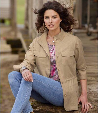 Women's Linen/ Viscose Safari-Style Jacket - Beige