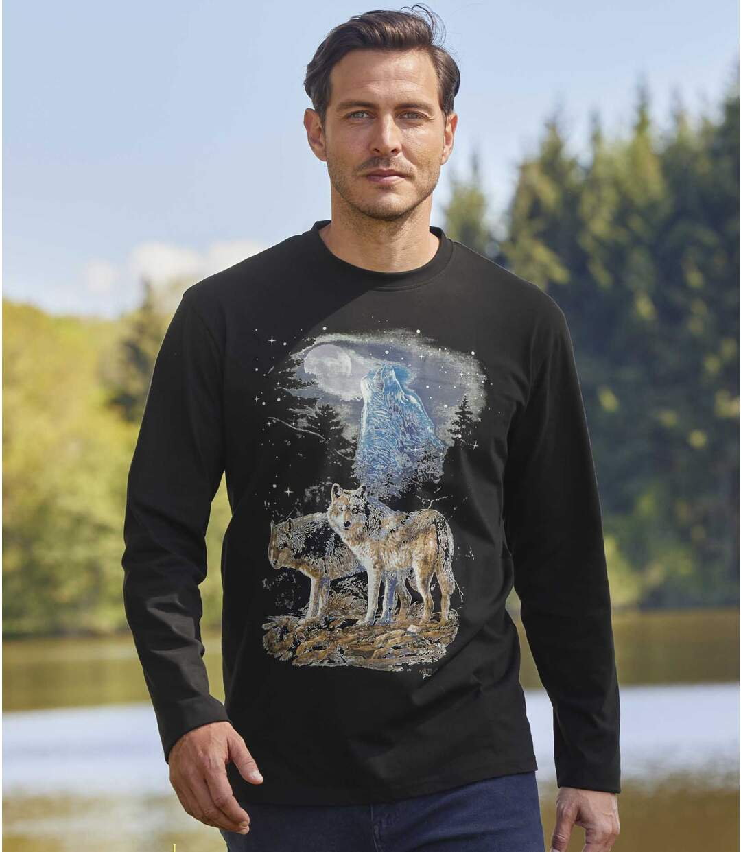 Men's Black Wolf Print Long Sleeve Top Atlas For Men