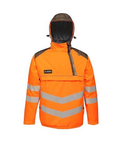 Regatta Mens Tactical Hi Vis Waterproof Reflective Overhead Bomber Jacket (Orange/Grey) - UTRG3988