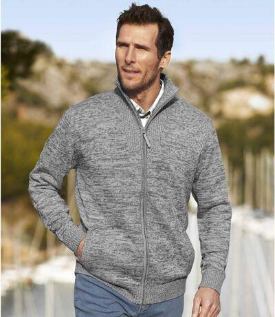Men's Grey Knitted Jacket - Full Zip
