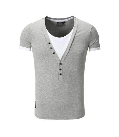 Tee shirt fashion col v doublé T-shirt 202 gris clair