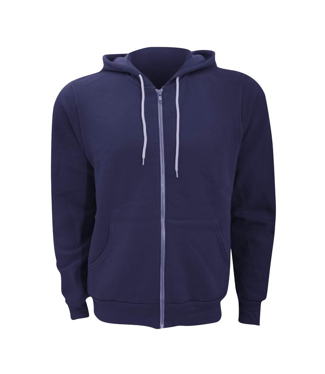 Canvas Unixex Zip-up Polycotton Fleece Hooded Sweatshirt / Hoodie (Navy Blue) - UTBC1337