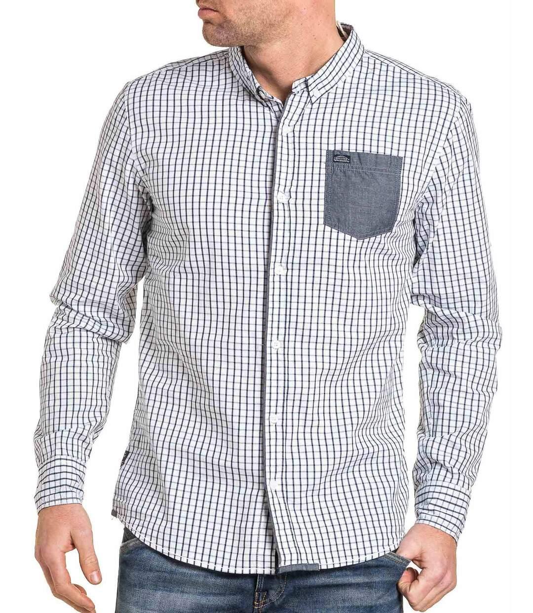 Chemise homme blanche à carreaux bleu poche poitrine