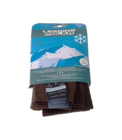 Legging chaud long - 1 paire - Unis simple - Ultra opaque - Mat - Gousset polyamide - Confort - Marron - Polar