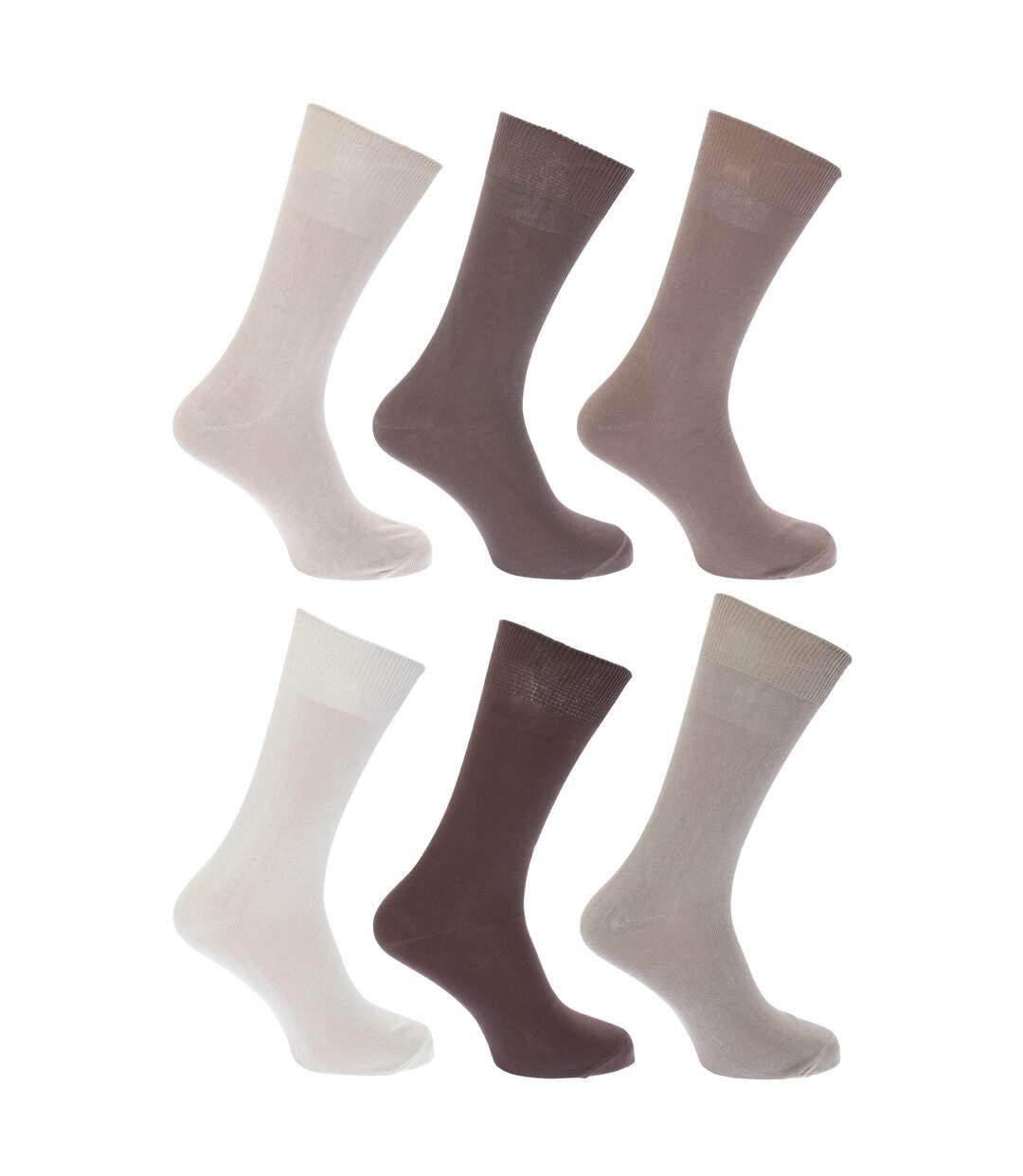 FLOSO Mens Plain 100% Cotton Socks (Pack Of 6) (Shades of Brown) - UTMB183
