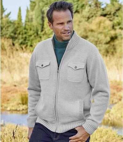 Men's Beige Multi-Pocket Knitted Jacket - Full Zip