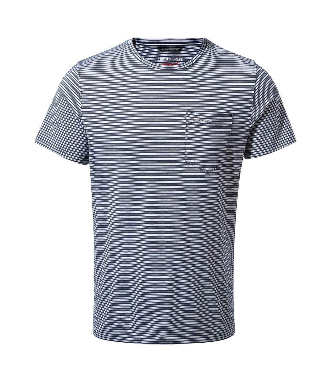 Craghoppers Mens NosiLife Ina Short Sleeved T-Shirt (Blue Navy Stripe) - UTCG1300
