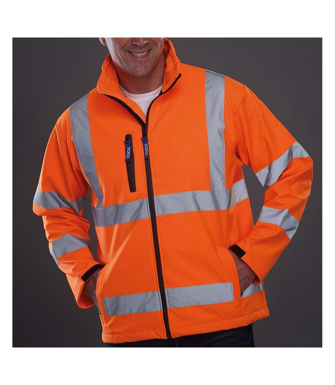 Yoko Mens Hi-Vis Sofshell Jacket (Pack of 2) (Hi Vis Orange) - UTBC4393