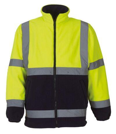 Gilet veste polaire de sécurité haute visibilité JAUNE fluo (bas bleu) - HVK08