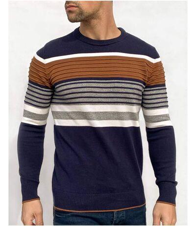 Pull bleu marine avec multicouleur tricoté nervuré camel gris blanc à col en rond pour homme
