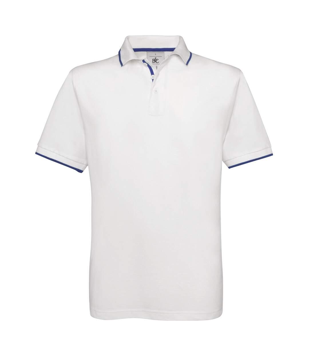 Polo manches courtes inserts contrastés - homme - PU413 - blanc