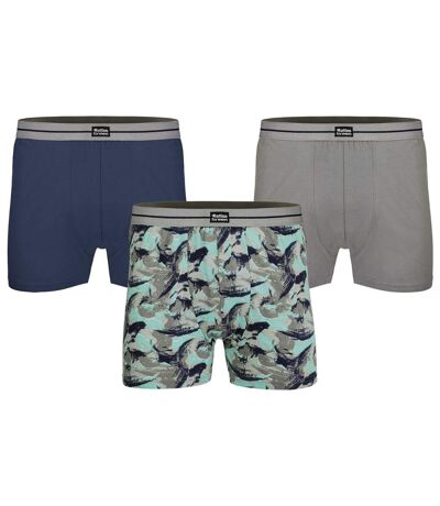 Pack of 3 Men's Stretch Boxers - Navy Grey Blue
