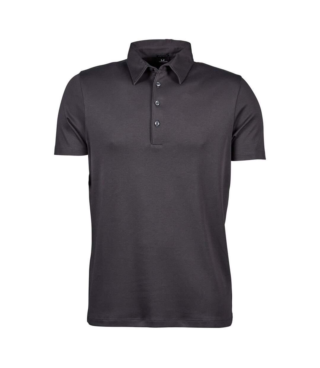 Tee Jays Mens Pima Short Sleeve Cotton Polo Shirt (Dark Grey) - UTBC3812