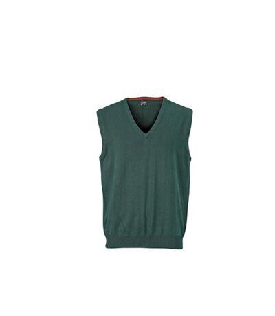 James And Nicholson Mens V-Neck Sweater Vest (Forest Green) - UTFU770