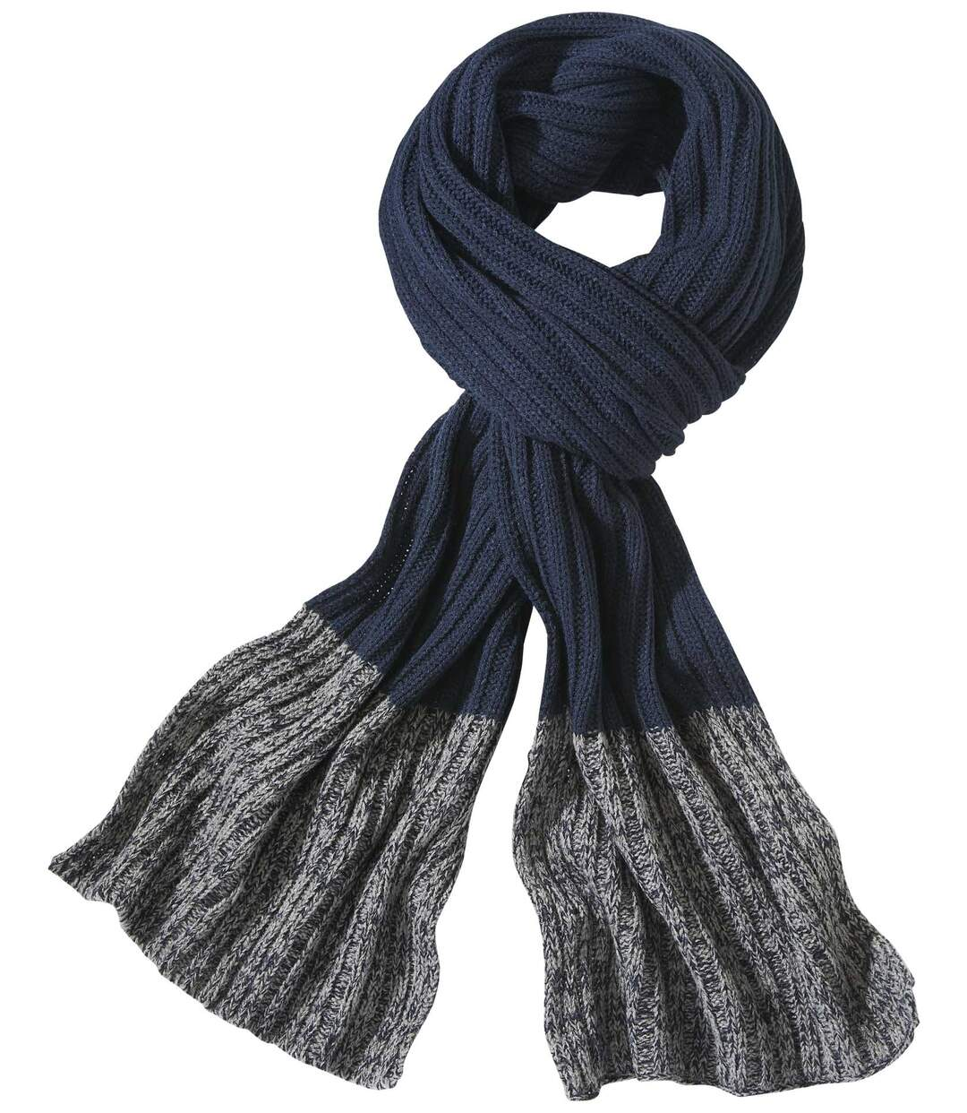 Men's Two-Tone Knitted Scarf - Navy Grey