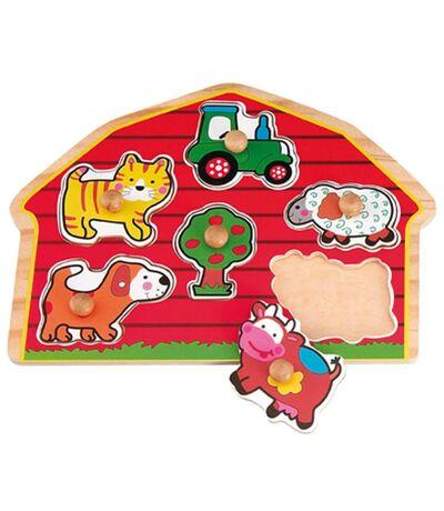 Puzzle éveil en bois Le Monde de la ferme - 6 pièces - Rouge