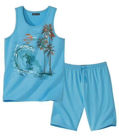 Krátké letní pyžamo s tílkem Island Surfing