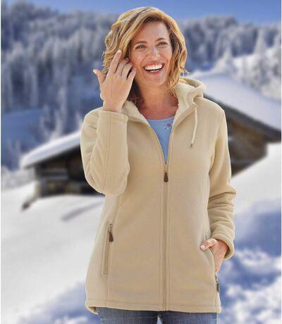 Women's Beige Jacket with Hood and Coral Fleece Lining