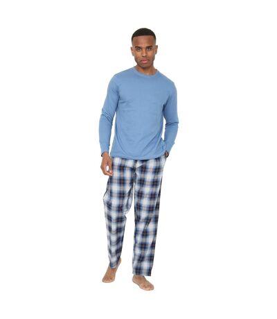 Pyjama en jersey à carreaux pour hommes (Bleu) - UTUT1024