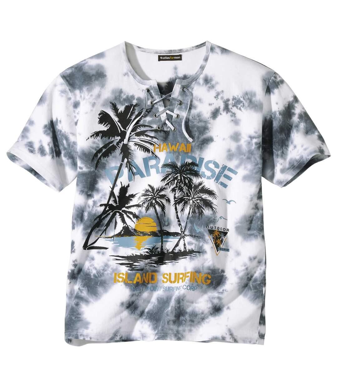 Paradise nyomtatott mintájú fűzős nyakú póló