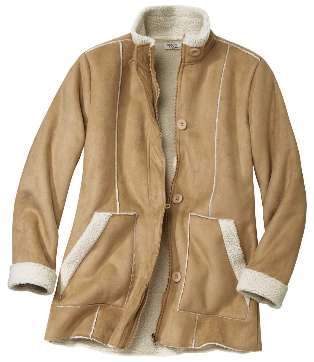 Kabát z umělého semiše podšitý umělým beránkem
