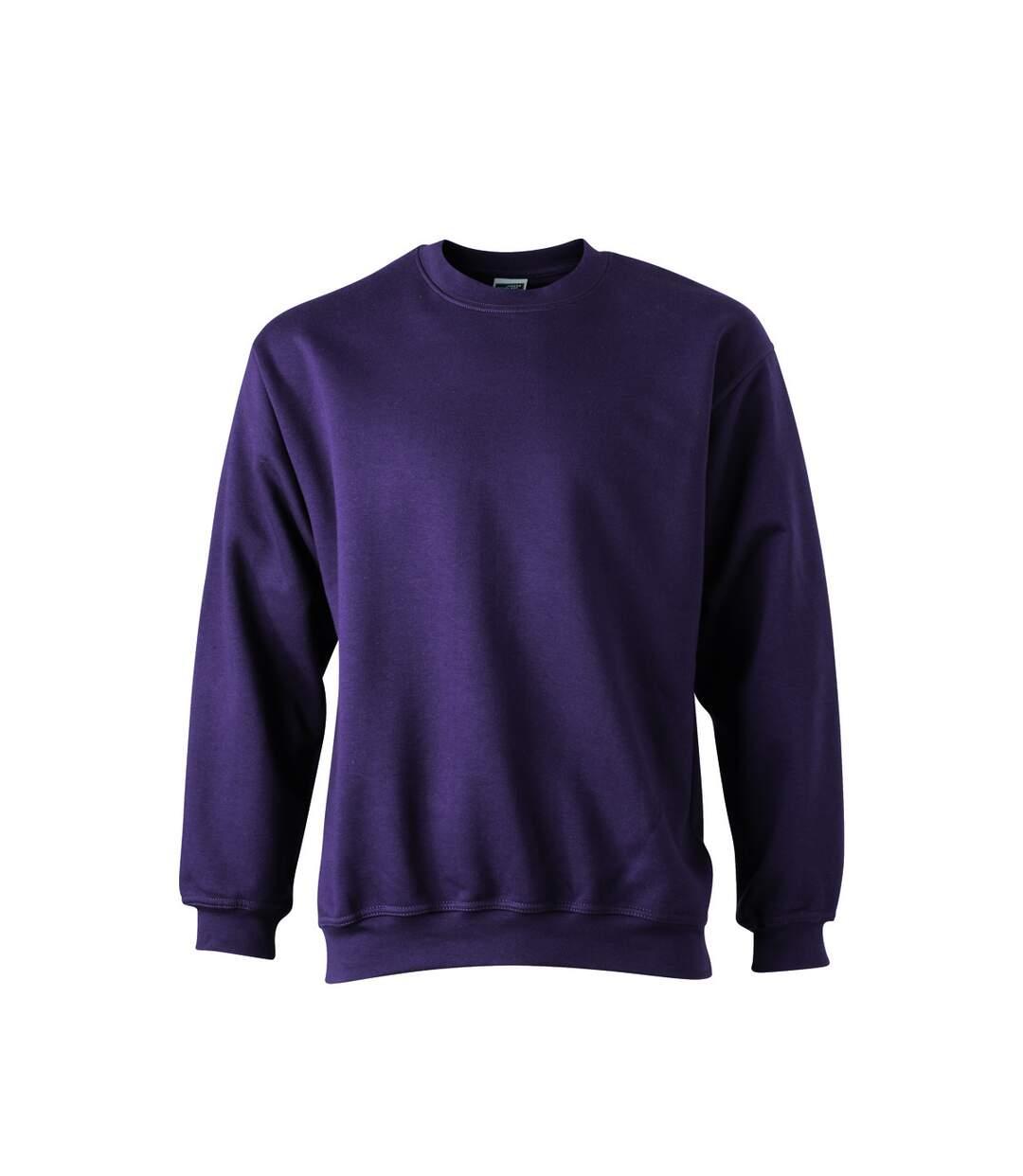 Sweat-shirt col rond - JN040 - violet aubergine - mixte homme femme