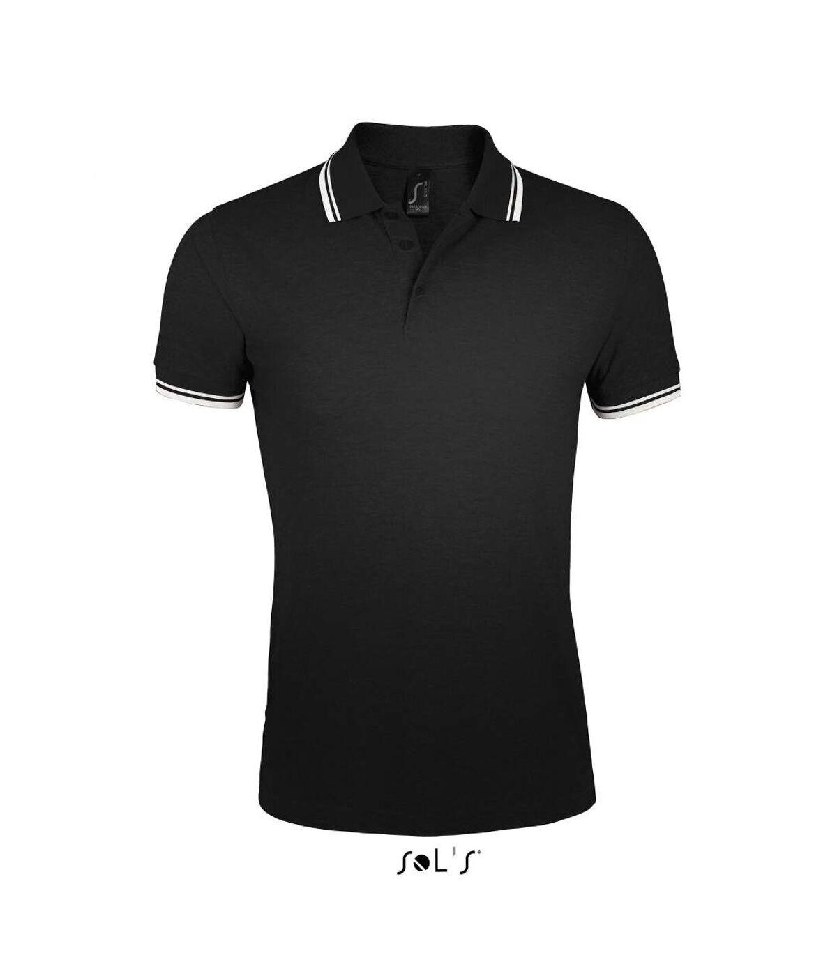 Polo homme coton - 00577 - noir et bande blanche