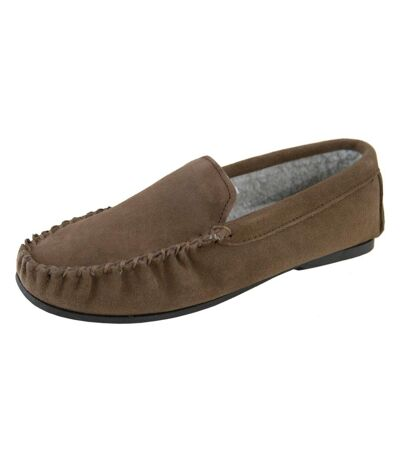 Eastern Counties Leather Mens Berber Fleece Lined Suede Moccasins (Taupe) - UTEL174