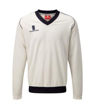 Surridge Mens Fleece Lined Sweater / Sports / Cricket (White/ Navy trim) - UTRW2866