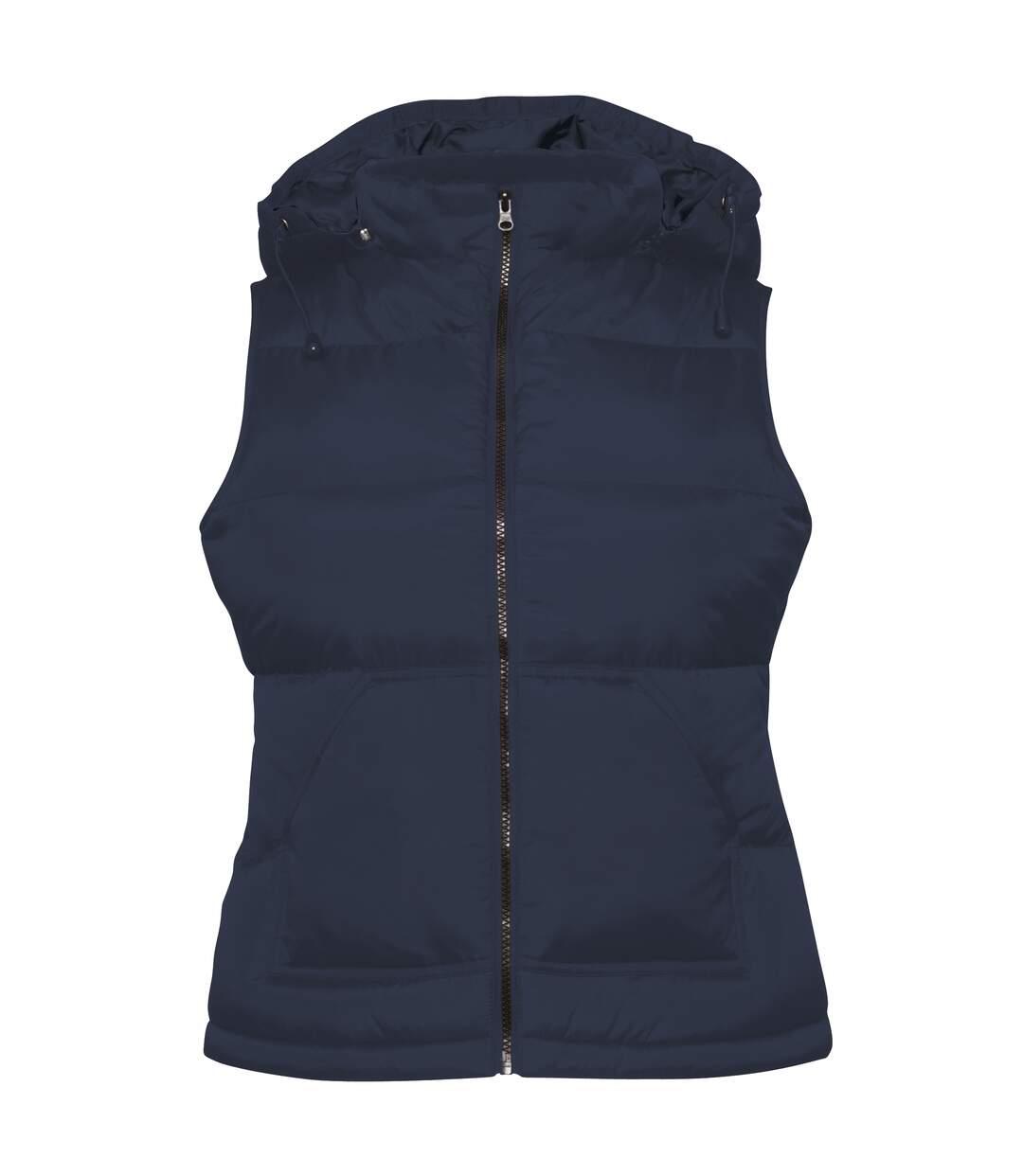 B&C Womens/Ladies Zen+ Hooded Waterproof Bodywarmer/Gilet (Navy) - UTRW3039